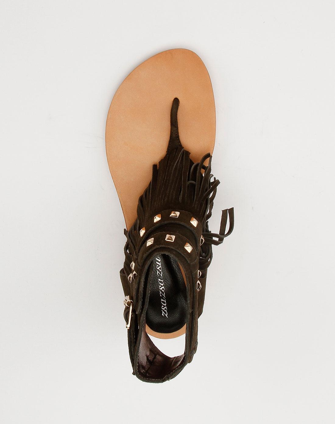 色时尚条带凉鞋