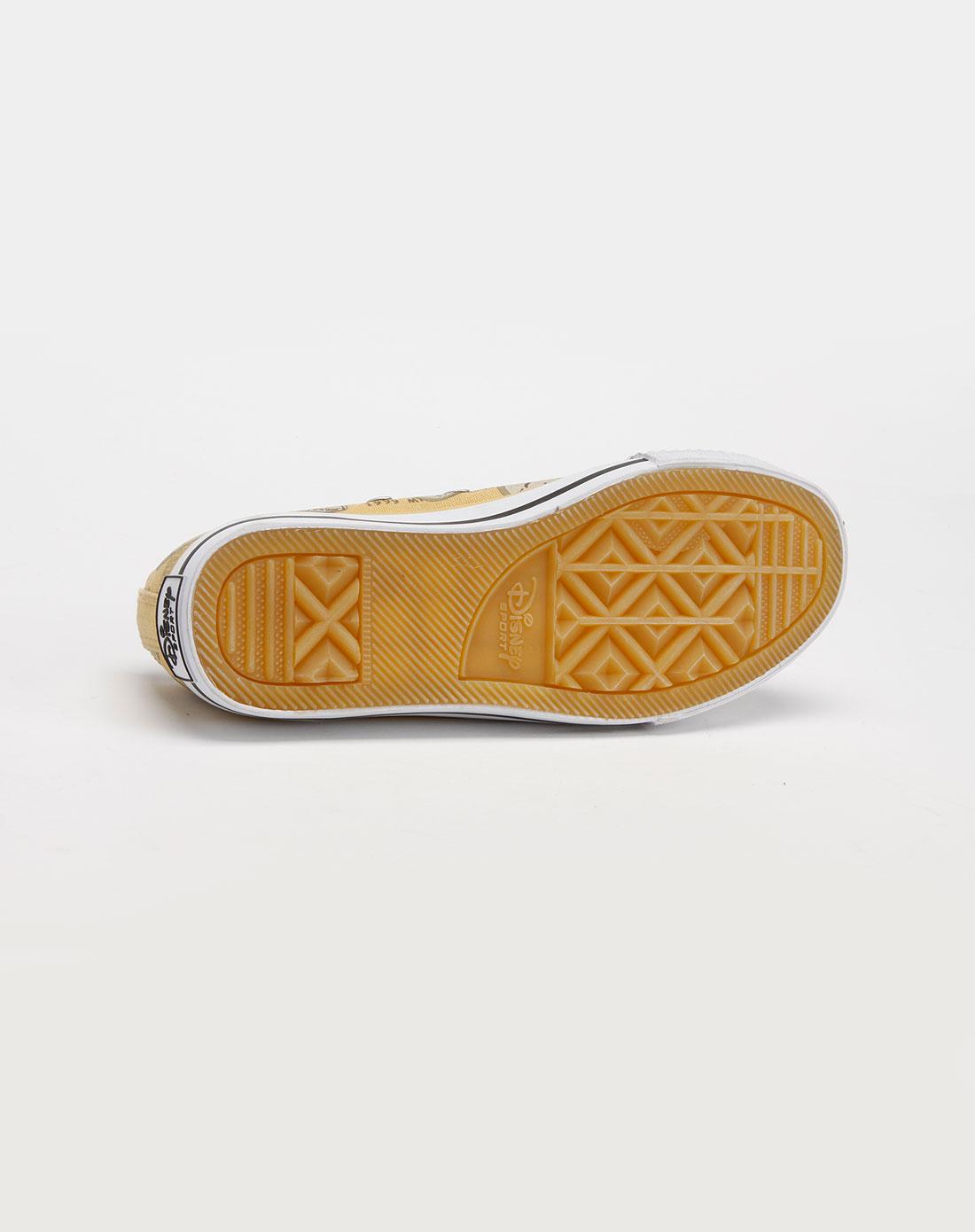 迪士尼disney米奇女款白/杏色帆布鞋