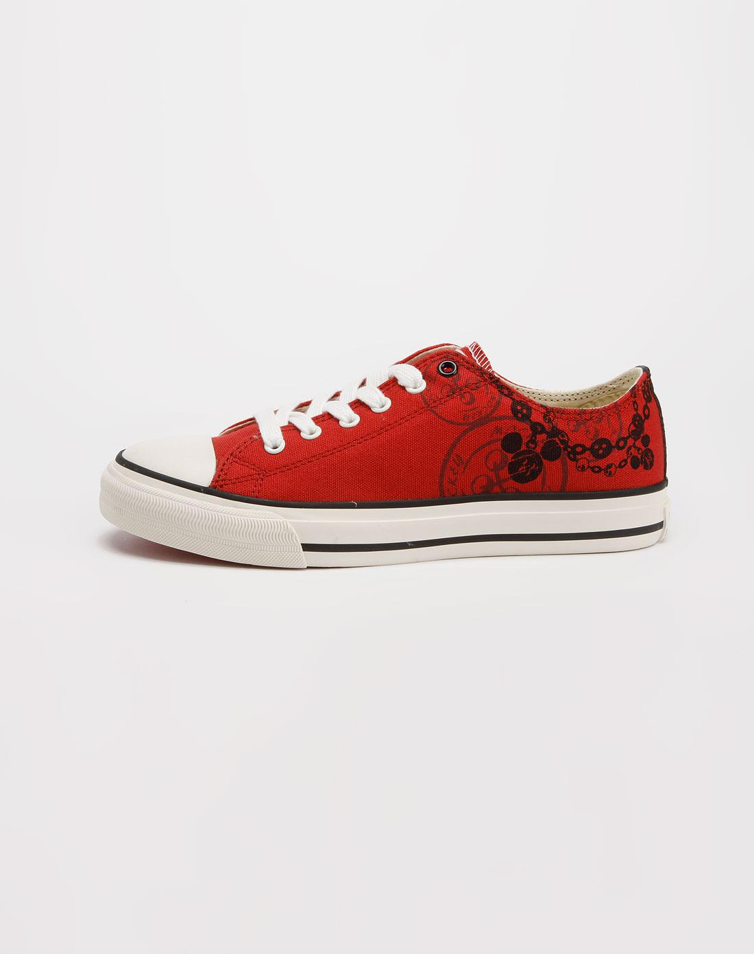 迪士尼disney米奇女款暗红色帆布鞋