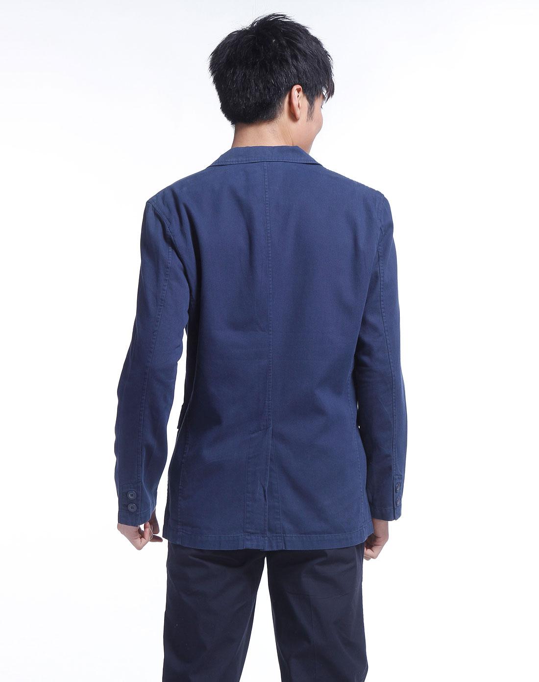 doright深蓝色长袖休闲西装