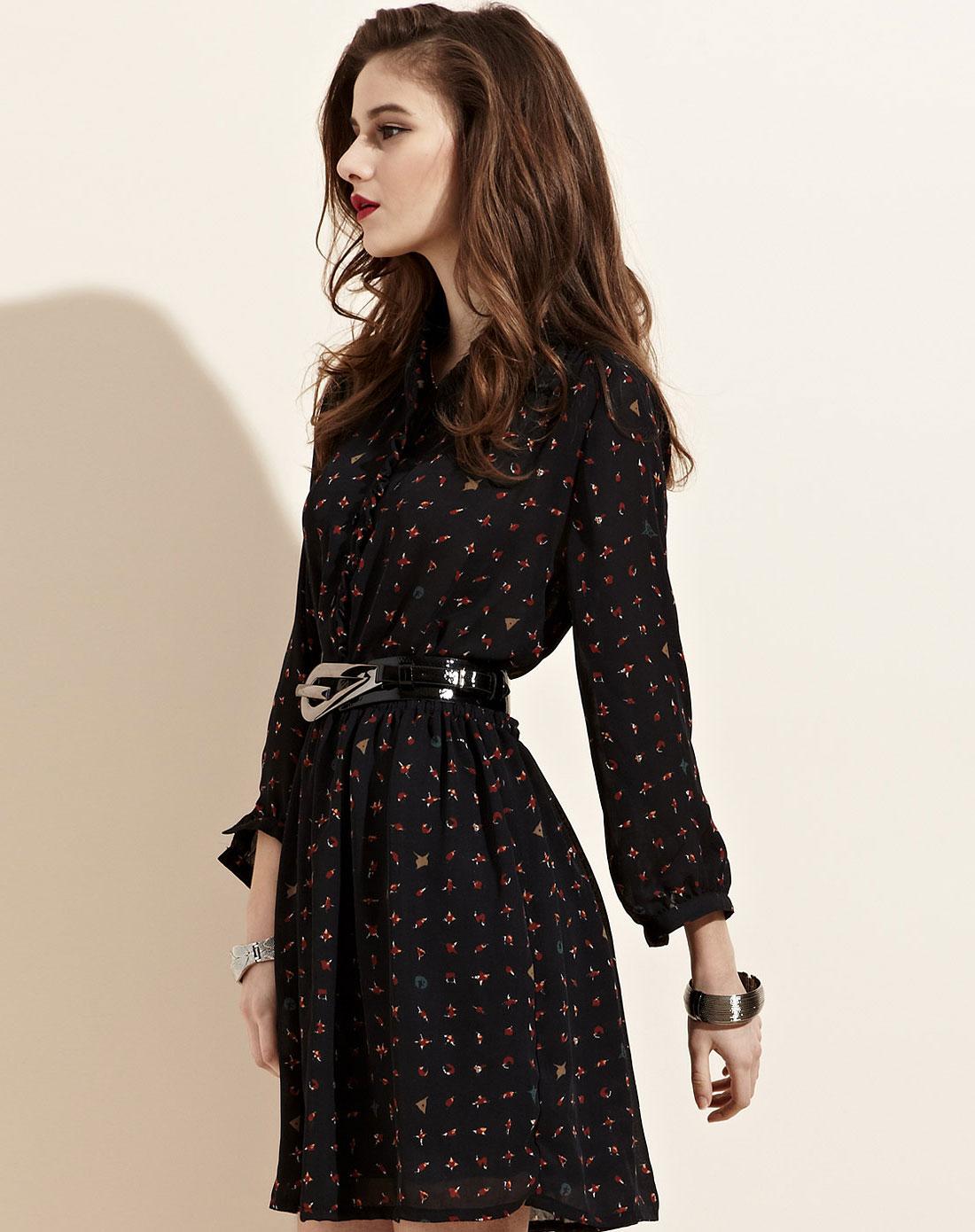 连衣裙雪纺中袖