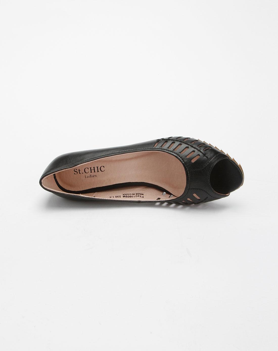 chic女款黑色鱼嘴镂空内增高凉鞋p22c13809m