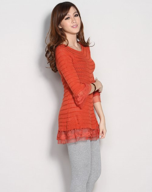 shish女装专场橘红色蕾丝边镂空花中袖针织衫
