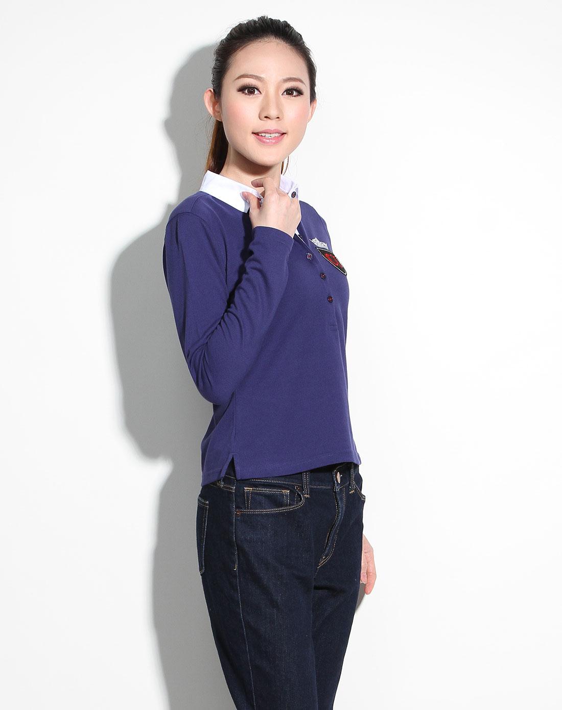 卓丹charlesjourdan男女装蓝色休闲长袖t恤