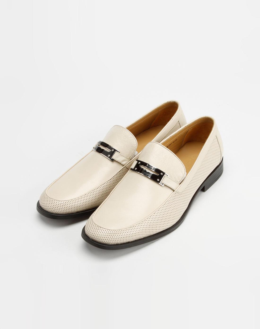 byford男款米白色袋鼠皮鞋