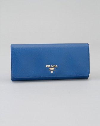 prada女款湖水蓝色暗纹时尚奢华长款钱包