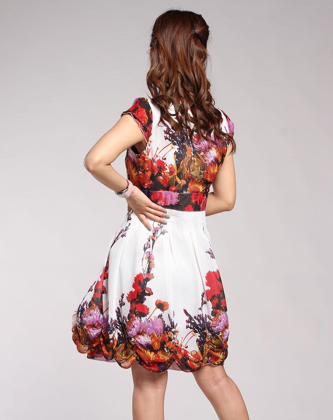 伊莎贝拉isbl紫色花纹简约短袖连衣裙
