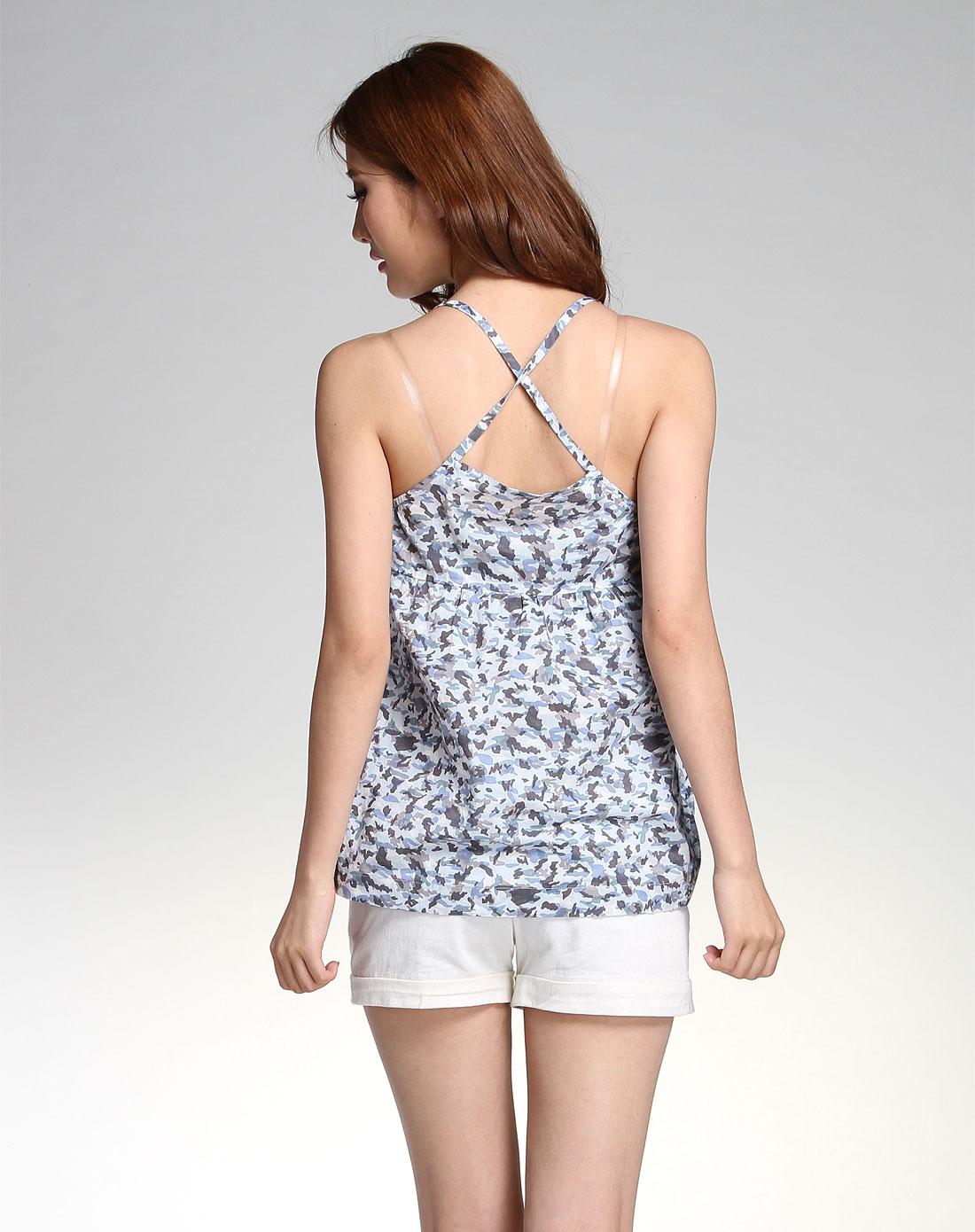 自然元素蓝色迷彩时尚吊带背心