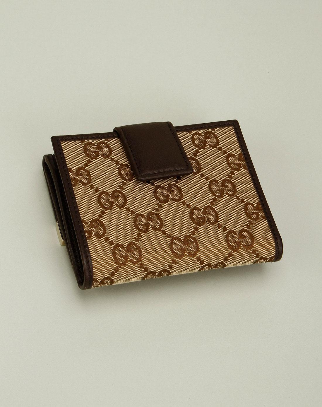 gucci钱包专场女款浅棕色双g印花素雅钱包257016fafx