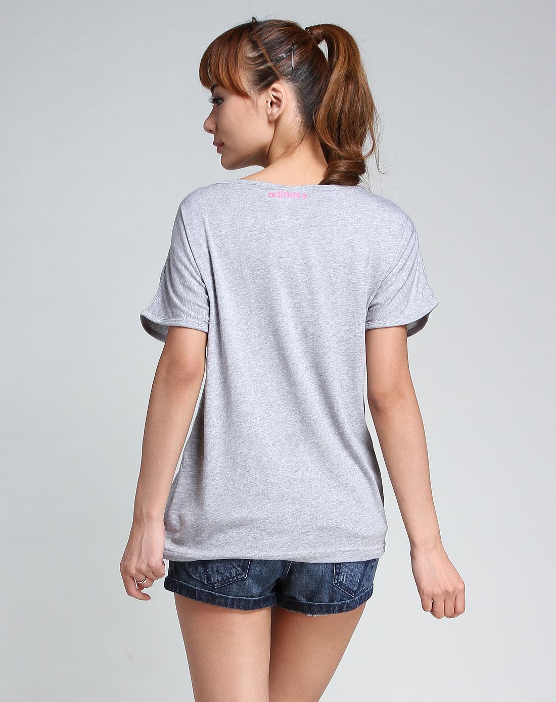 灰/玫红色圆领短袖t恤