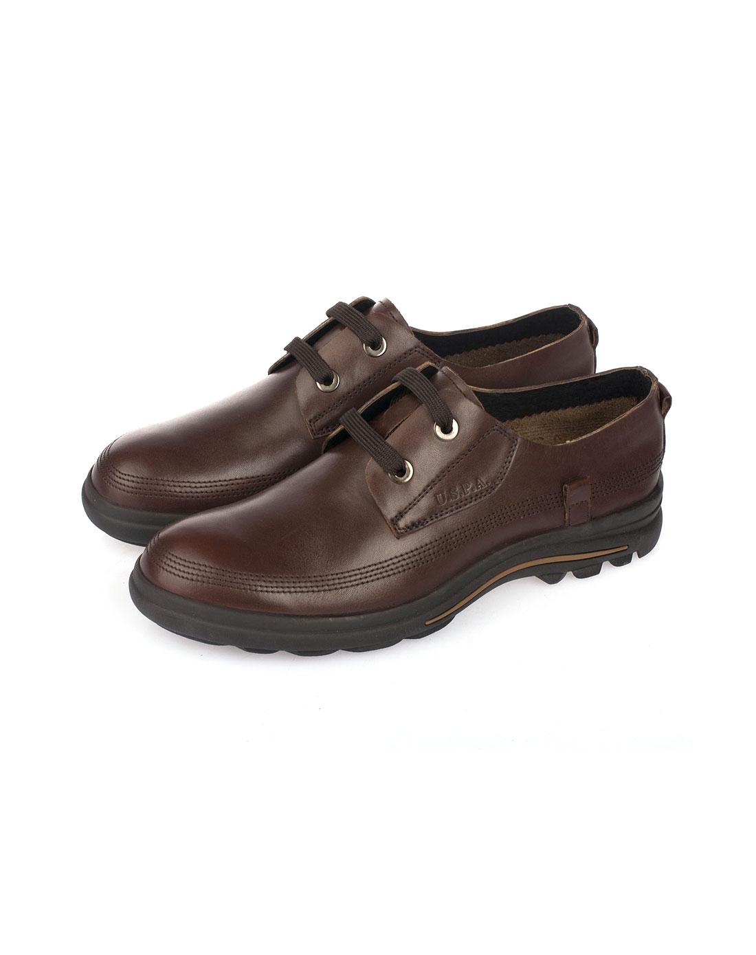 assn.男款棕休闲皮鞋
