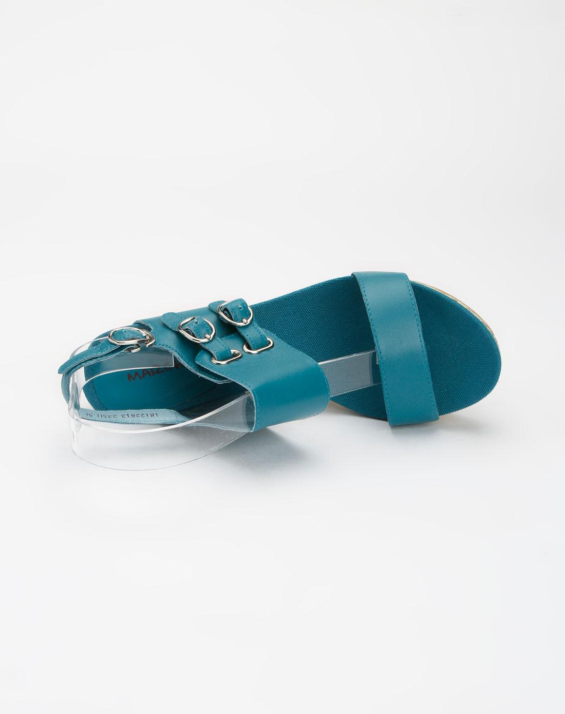 蜜丝罗妮marchiori蓝色时尚坡跟凉鞋18122813-0007