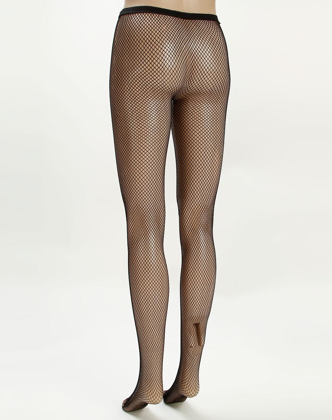 寓美女款黑色魅力提花网眼纹连裤袜5双装3521020