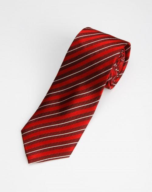 报喜鸟bono男款暗红底白色斜纹领带