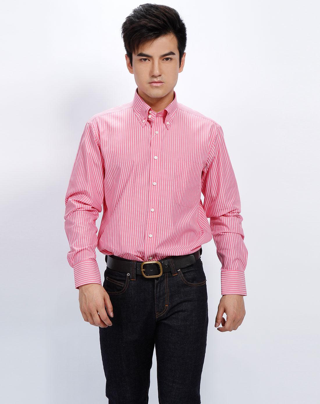 报喜鸟bono 男款粉红底白条纹花式领长袖衬衫图片