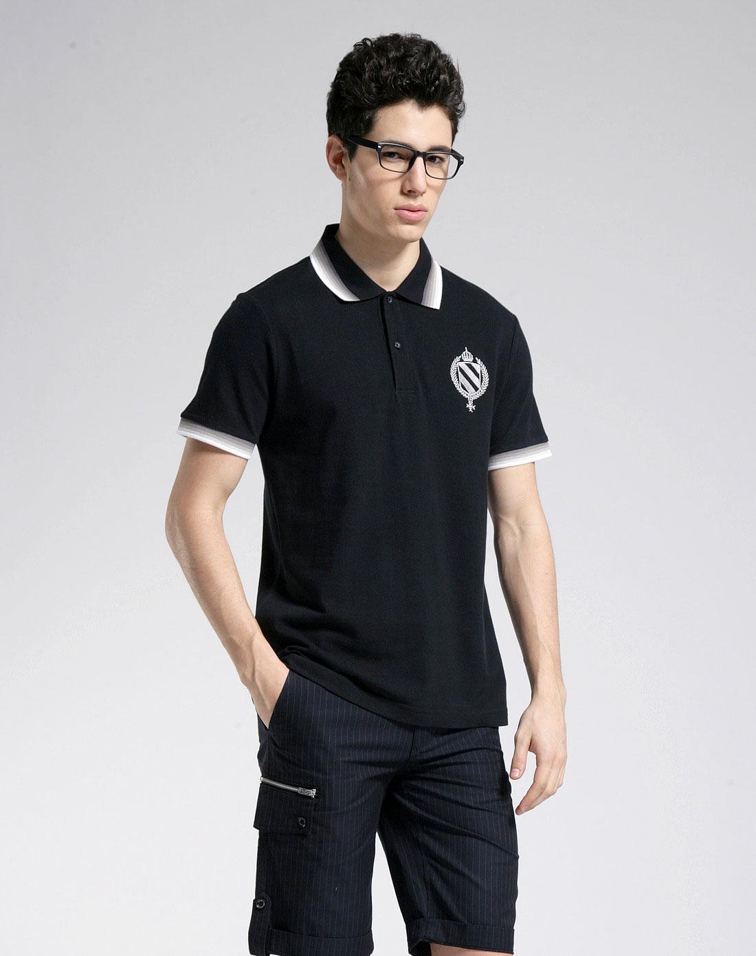 1978男装混合专场-gxg 黑色休闲时尚短袖polo衫