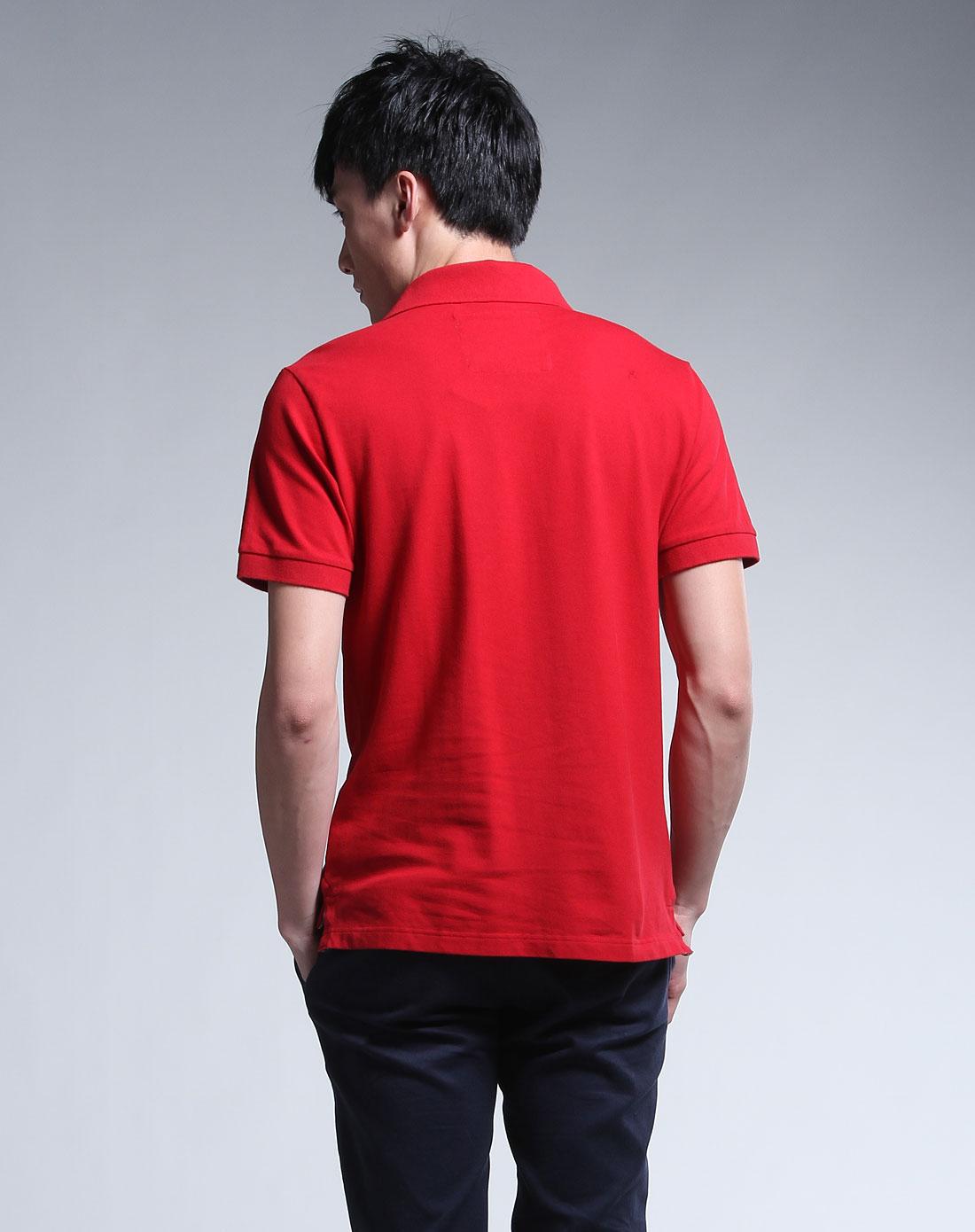 _阿尔皮纳(袋鼠)l\'alpina男装专场-大红色翻领短袖t恤