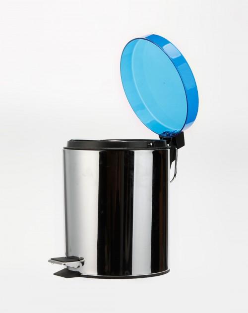 深蓝/银色不锈钢垃圾桶5升