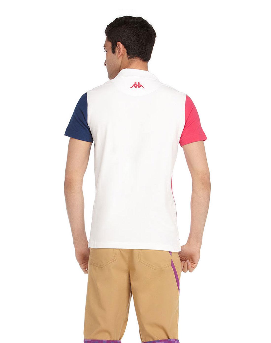 卡帕kappa男装专场-白色时尚短袖polo衫