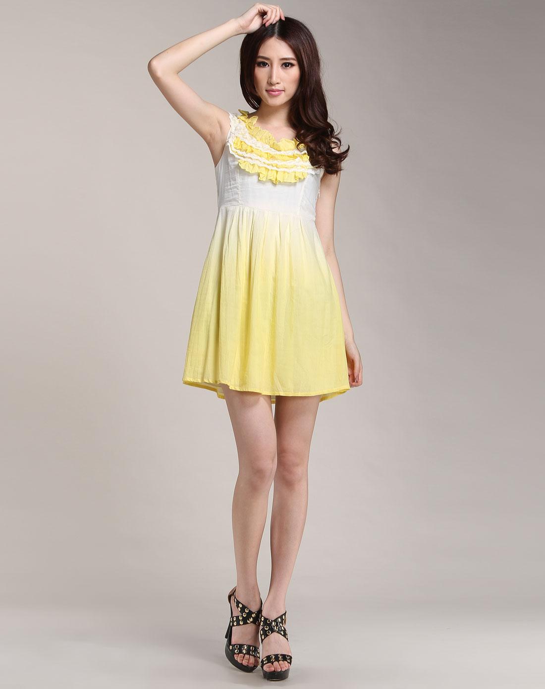 花边时尚无袖连衣裙