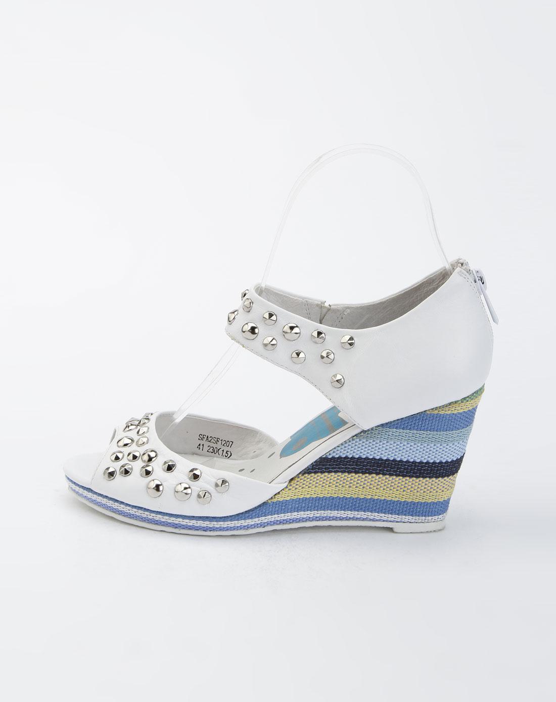 索菲娅safiya白色时尚鱼嘴坡跟凉鞋