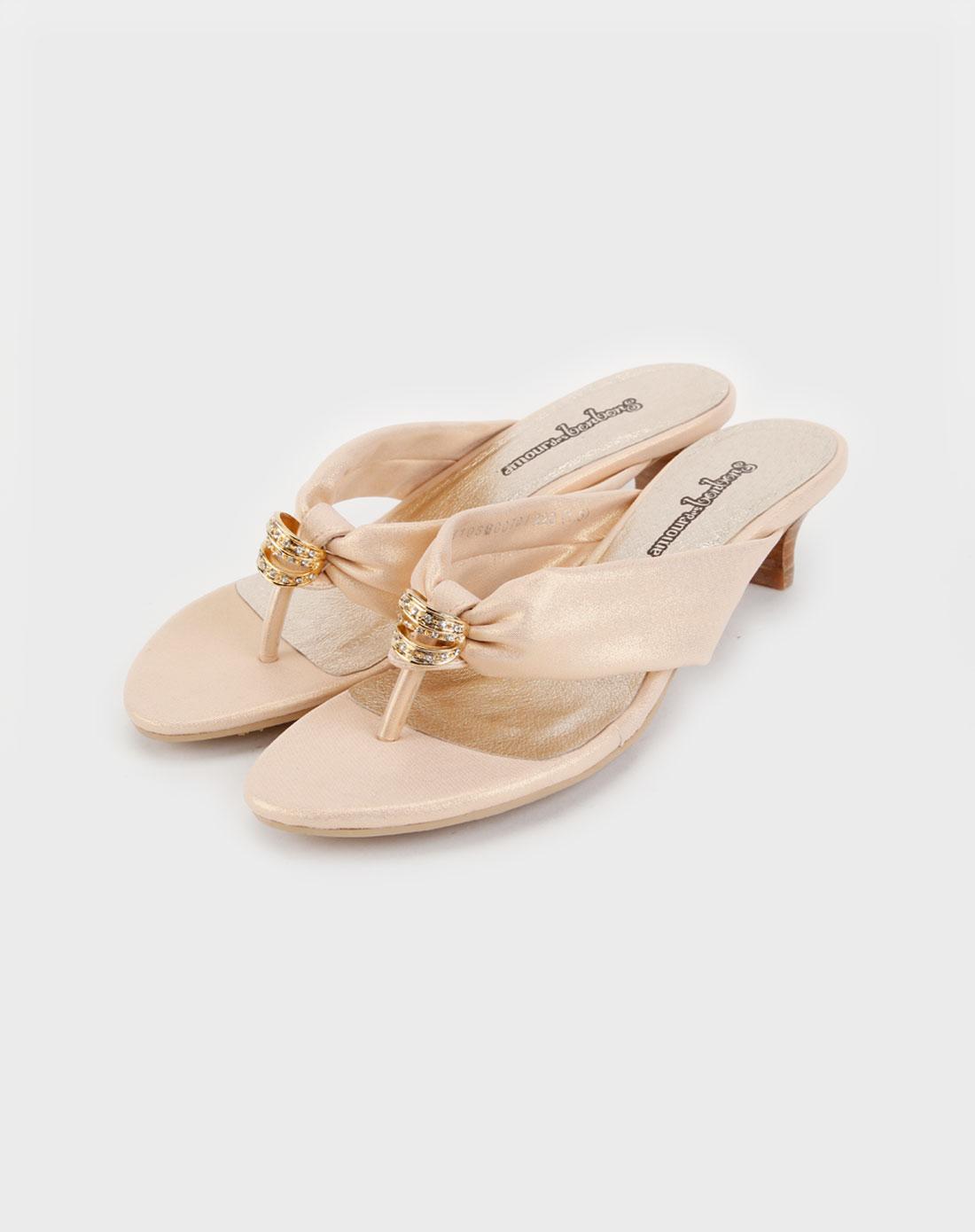 梅森之邦杏/金色时尚凉鞋