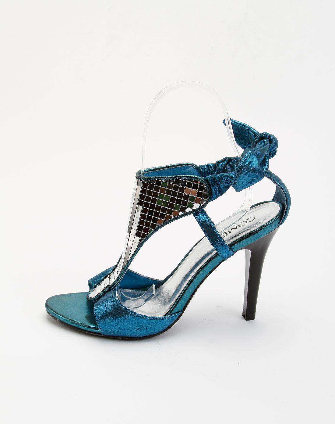 康莉旗下品牌女鞋康莉comrade 女款头层蓝色布纹羊皮