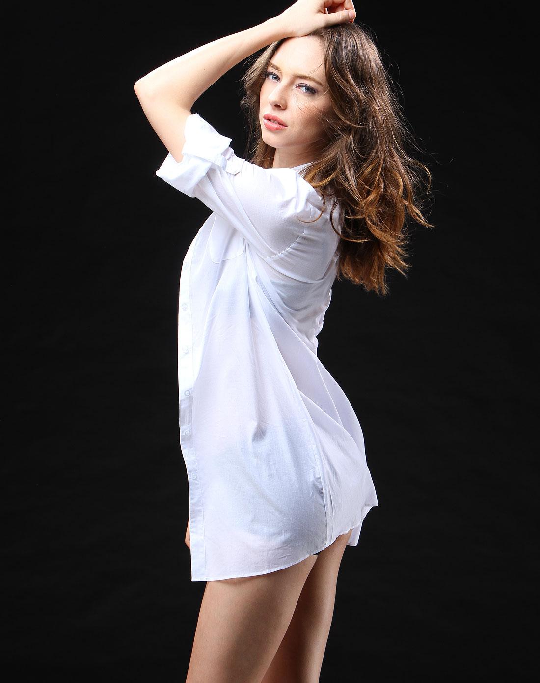 love女士内衣专场白色休闲长款中袖衬衫