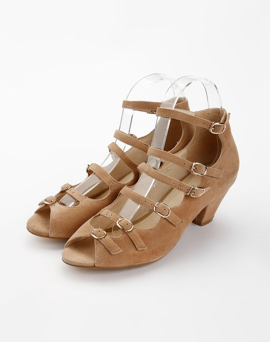 贵之步g-vill杏色时尚中跟凉鞋