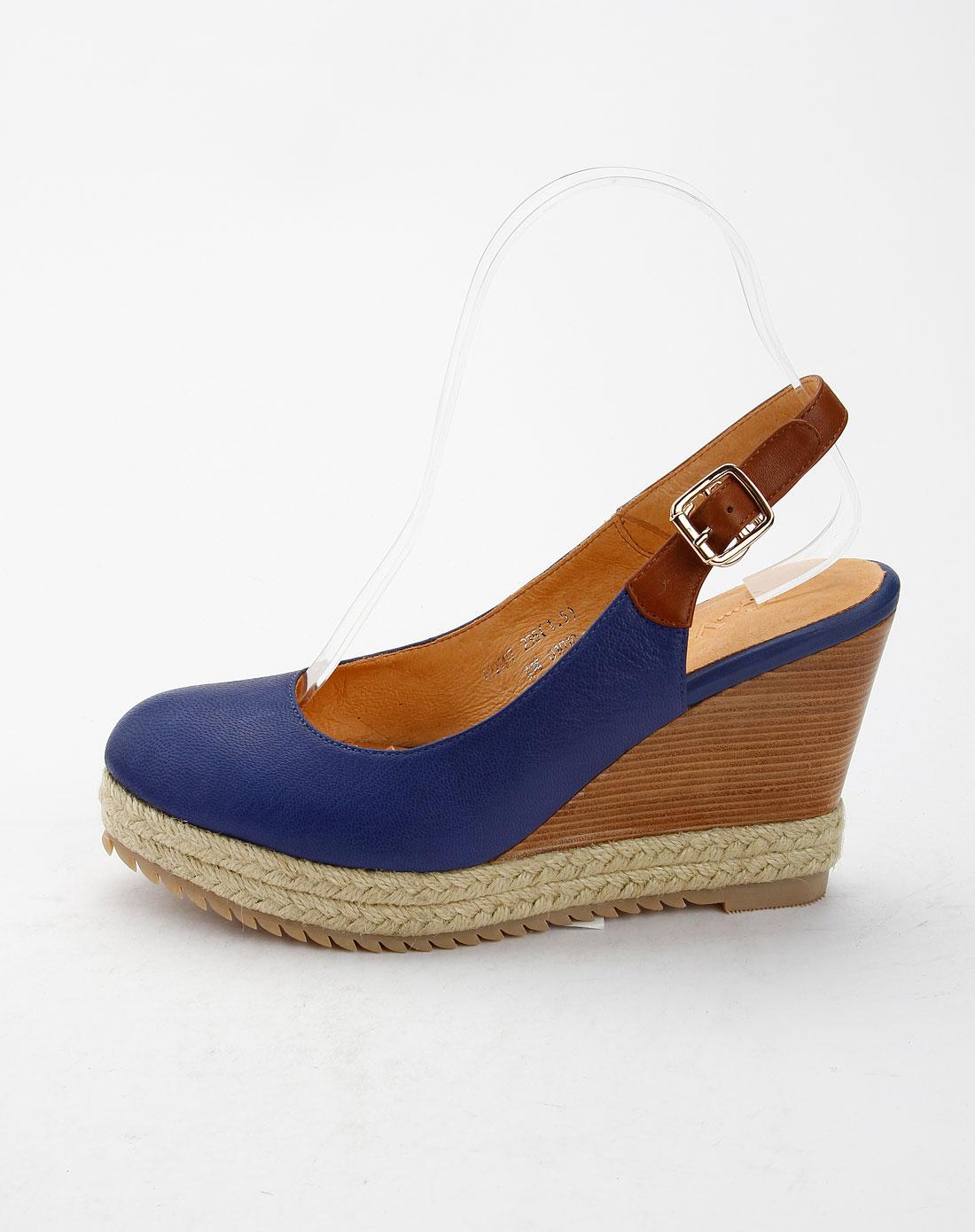 蓝羊皮+牛皮坡跟单鞋