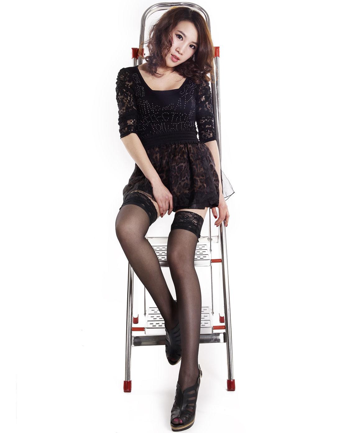 梦娜&阳光女孩女款黑色蕾丝花边防滑长筒袜(6双装)