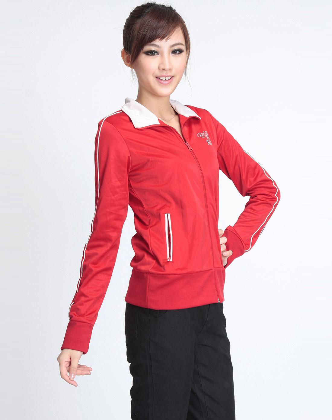 女款大红色运动长袖外套