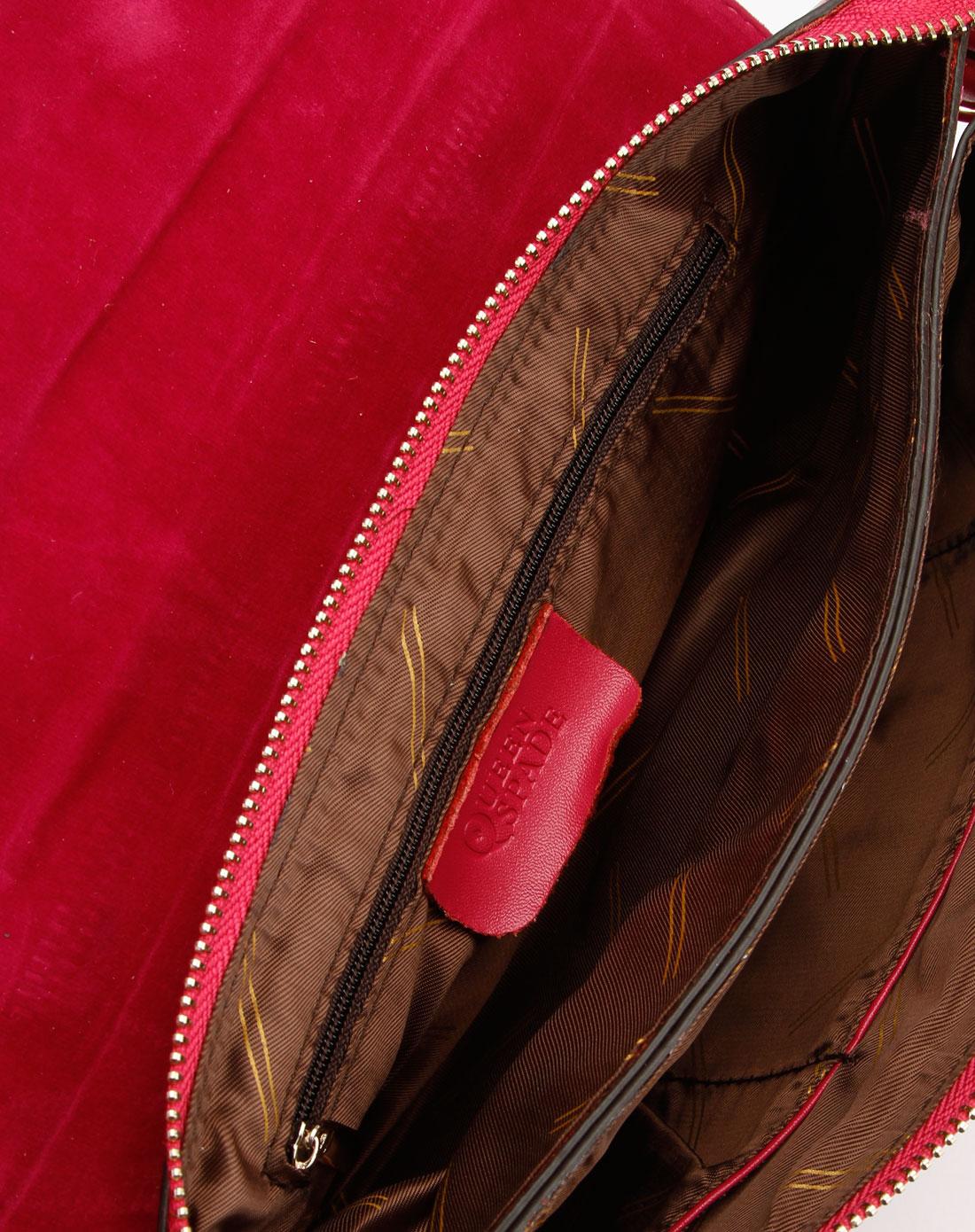 spade玫红色时尚蛇纹手提斜挎包q2145