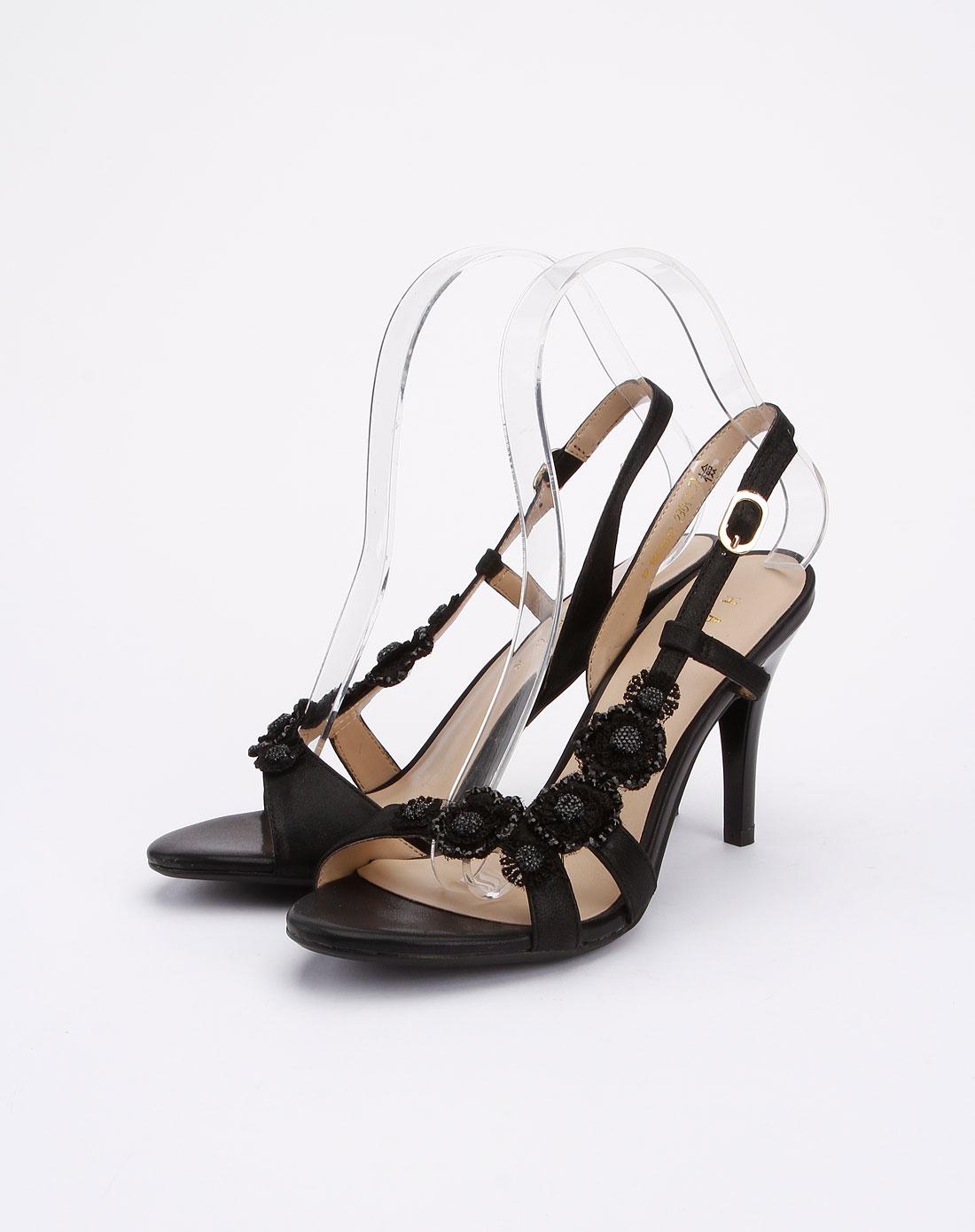 哈森harson女鞋专场-黑色时尚简约高跟凉鞋