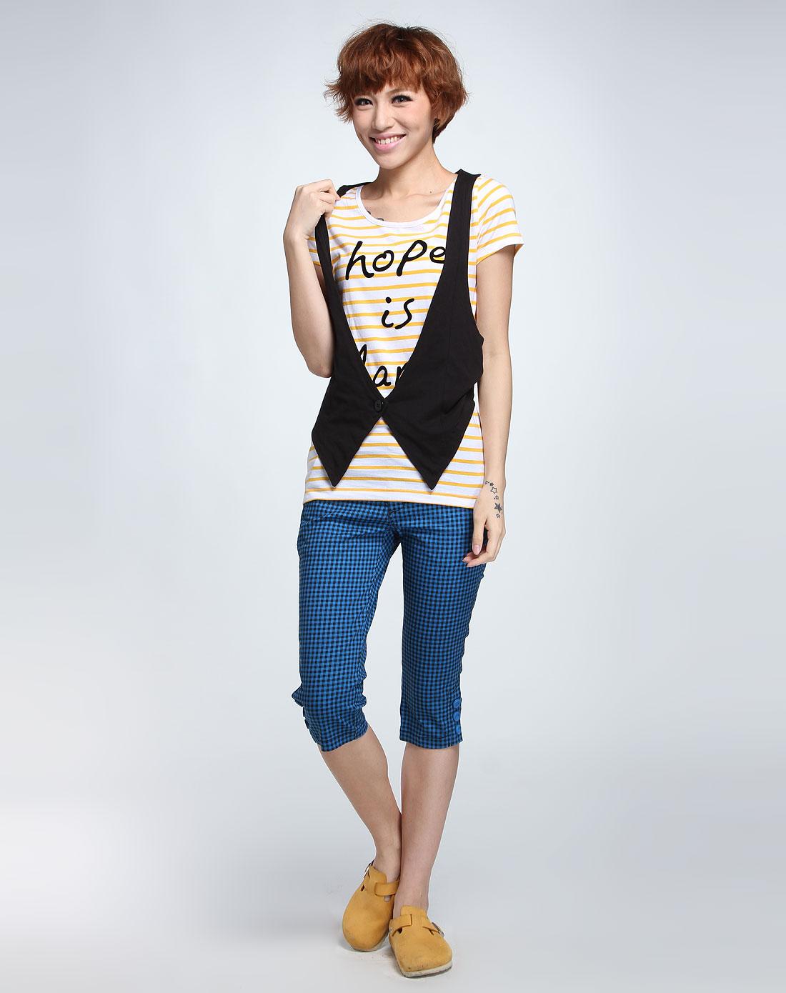 黄色白条纹短袖t恤