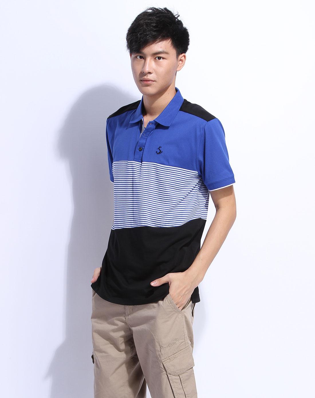 森马男装专场-蓝色条纹短袖t恤图片