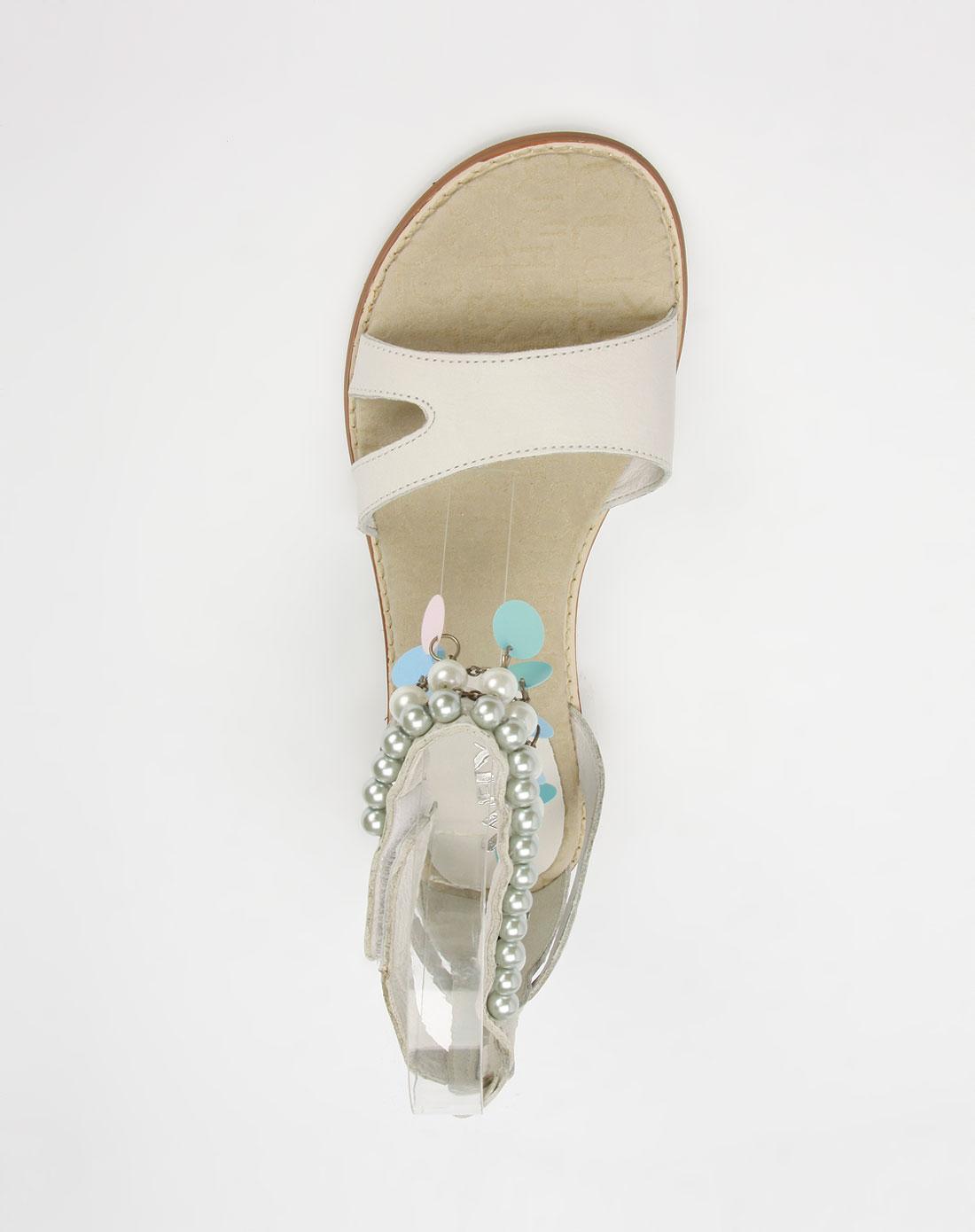 灰白色牛皮休闲凉鞋_索菲亚官网特价2.3-4
