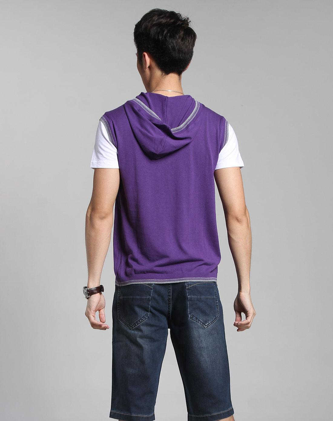 男款深紫色假两件套连帽短袖t恤图片