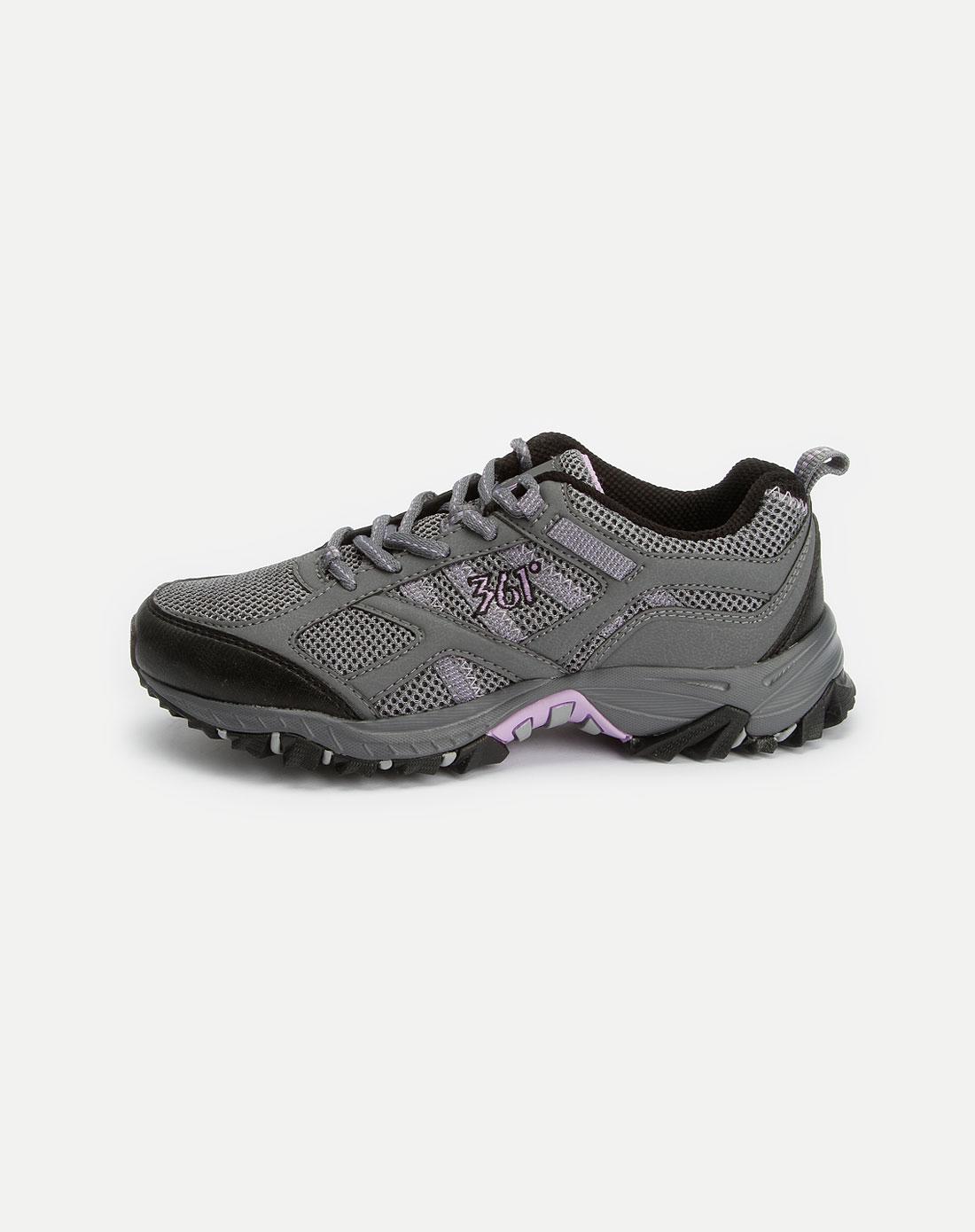 女款深灰/紫色网面运动鞋