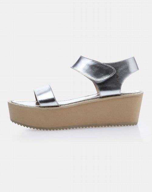 罗马真皮松糕厚底女凉鞋