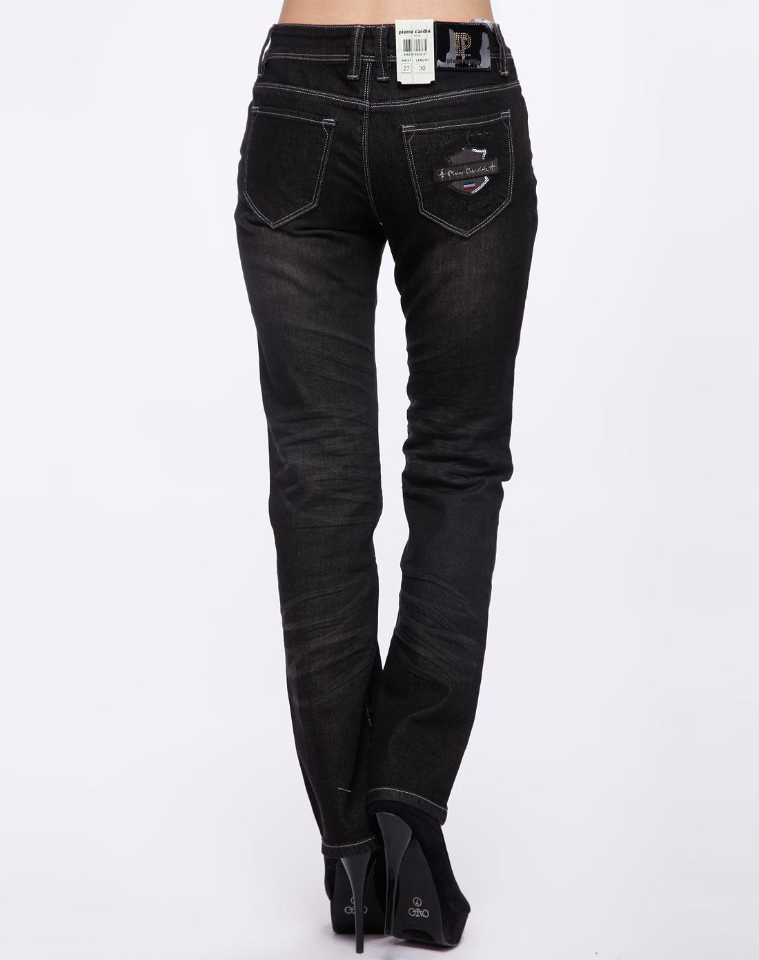 女款黑色直脚牛仔长裤