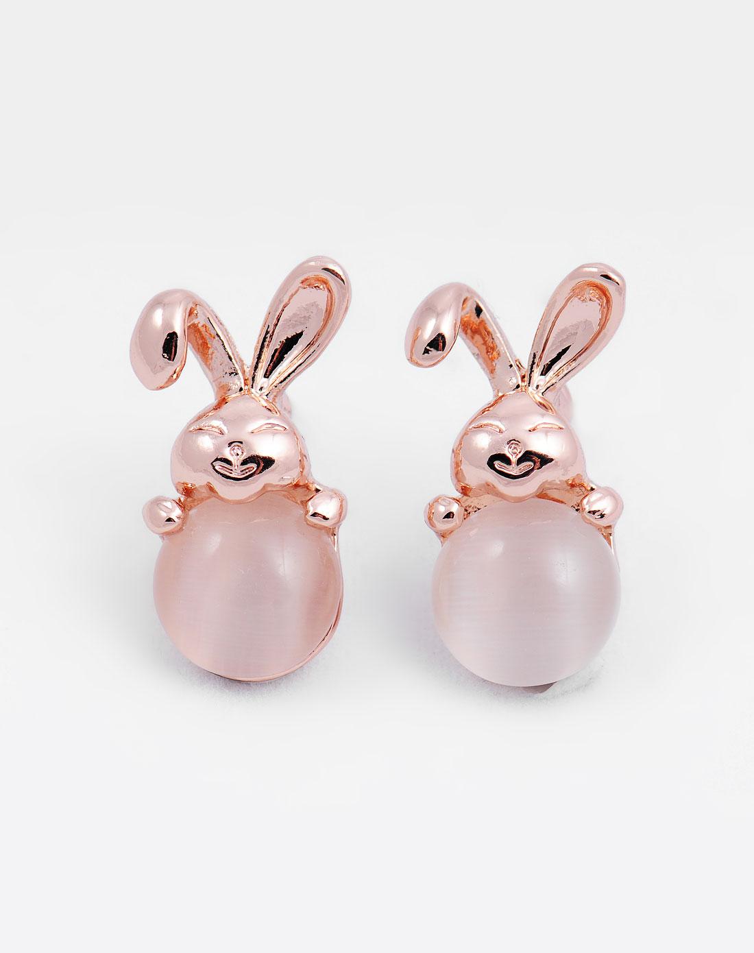 超可爱萌萌的小兔子猫眼石耳环