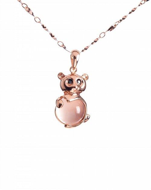 博金珠宝bojin首饰专场粉晶色可爱小熊吊坠项链