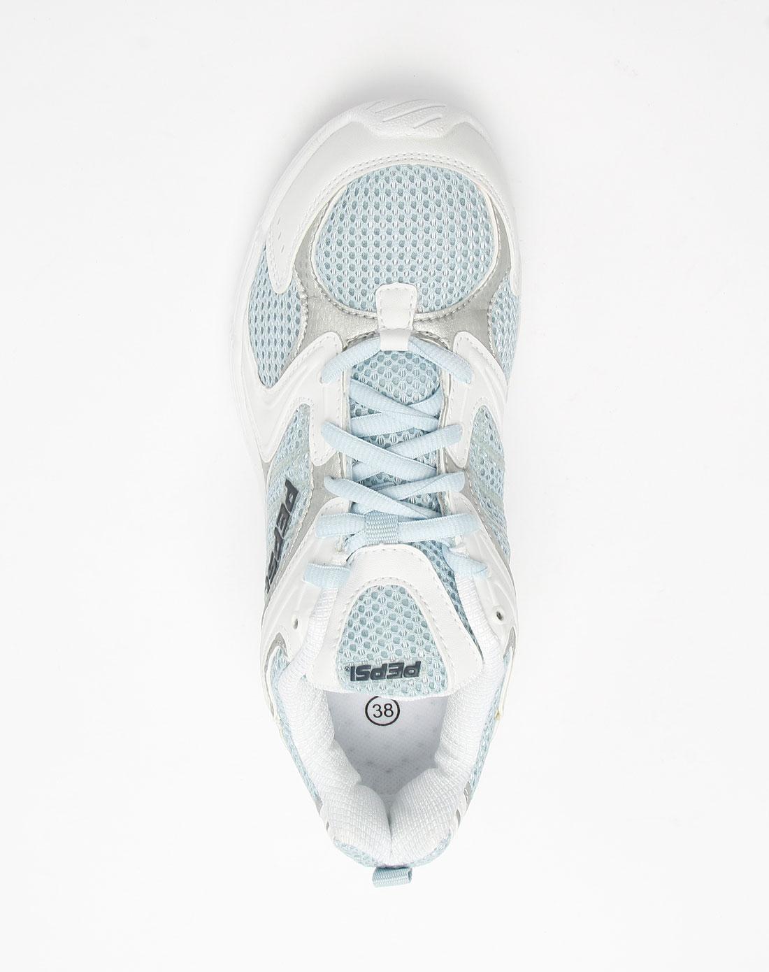 百事pepsi女款白/浅蓝色网面系带运动鞋