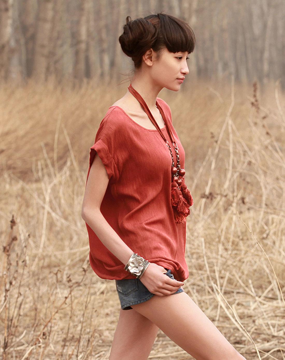 柳皱短袖套头衬衫