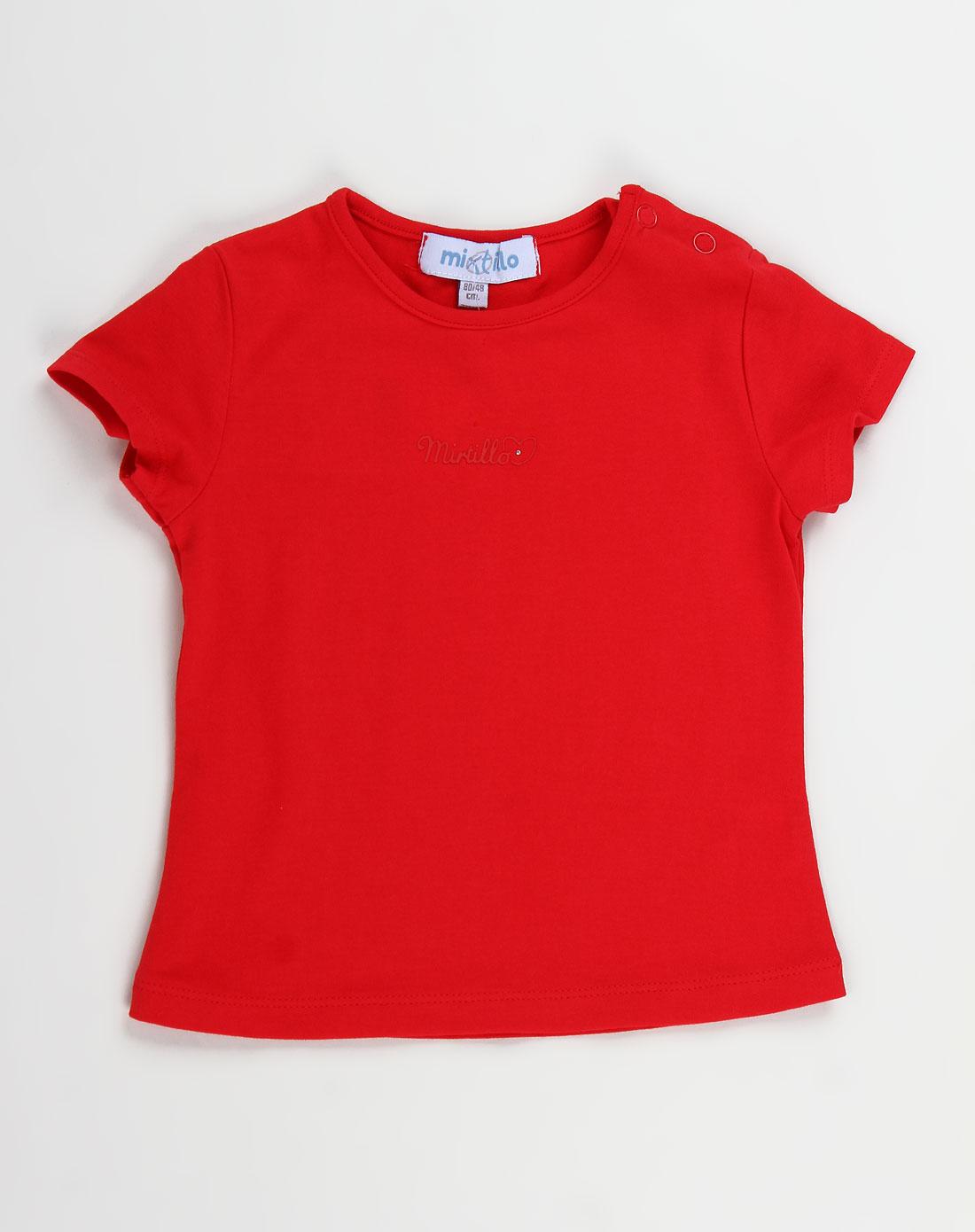 女童大红色休闲简约短袖t恤