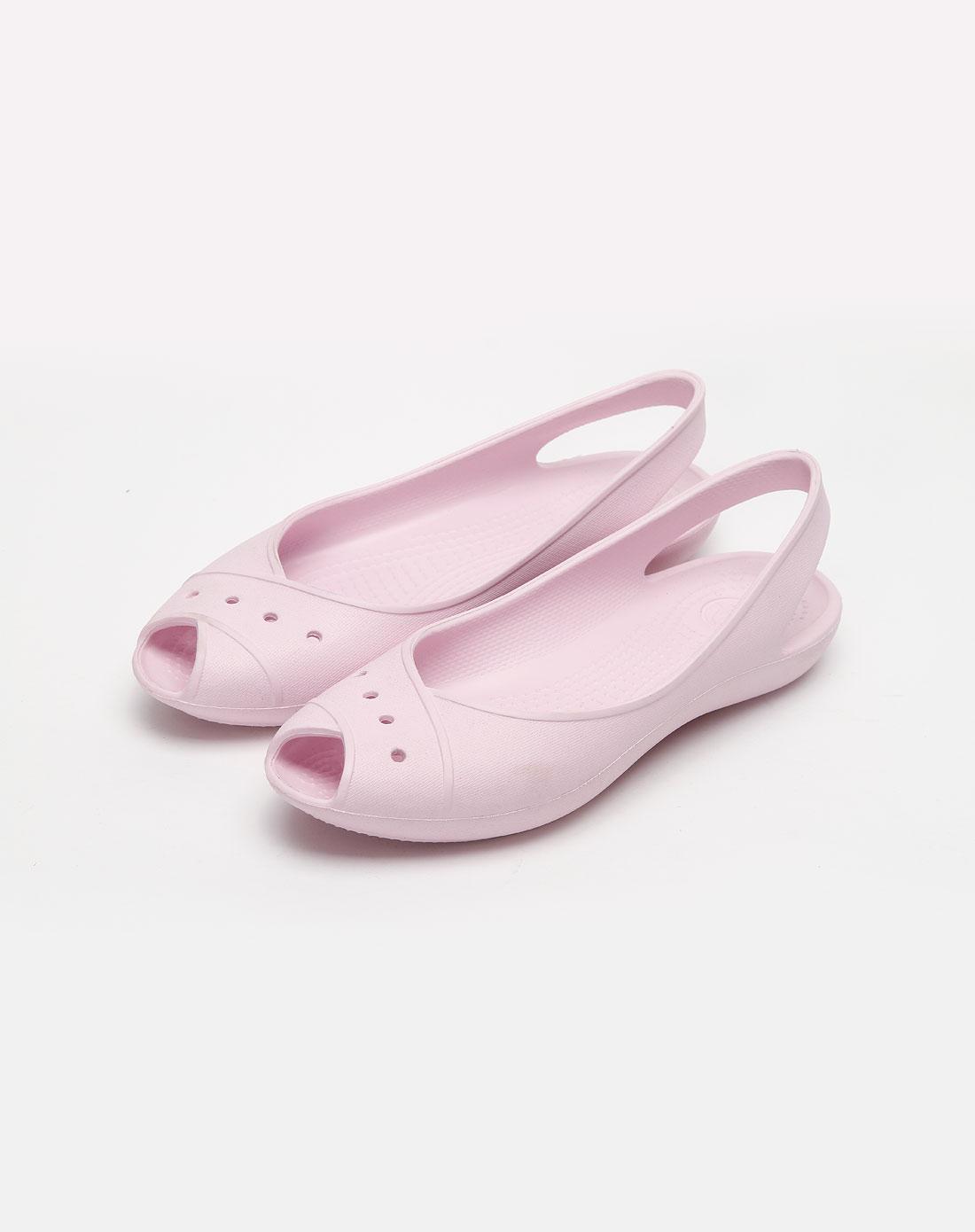女款淡粉色鱼嘴凉鞋_卡路驰crocs官网特价1.6-6.1折