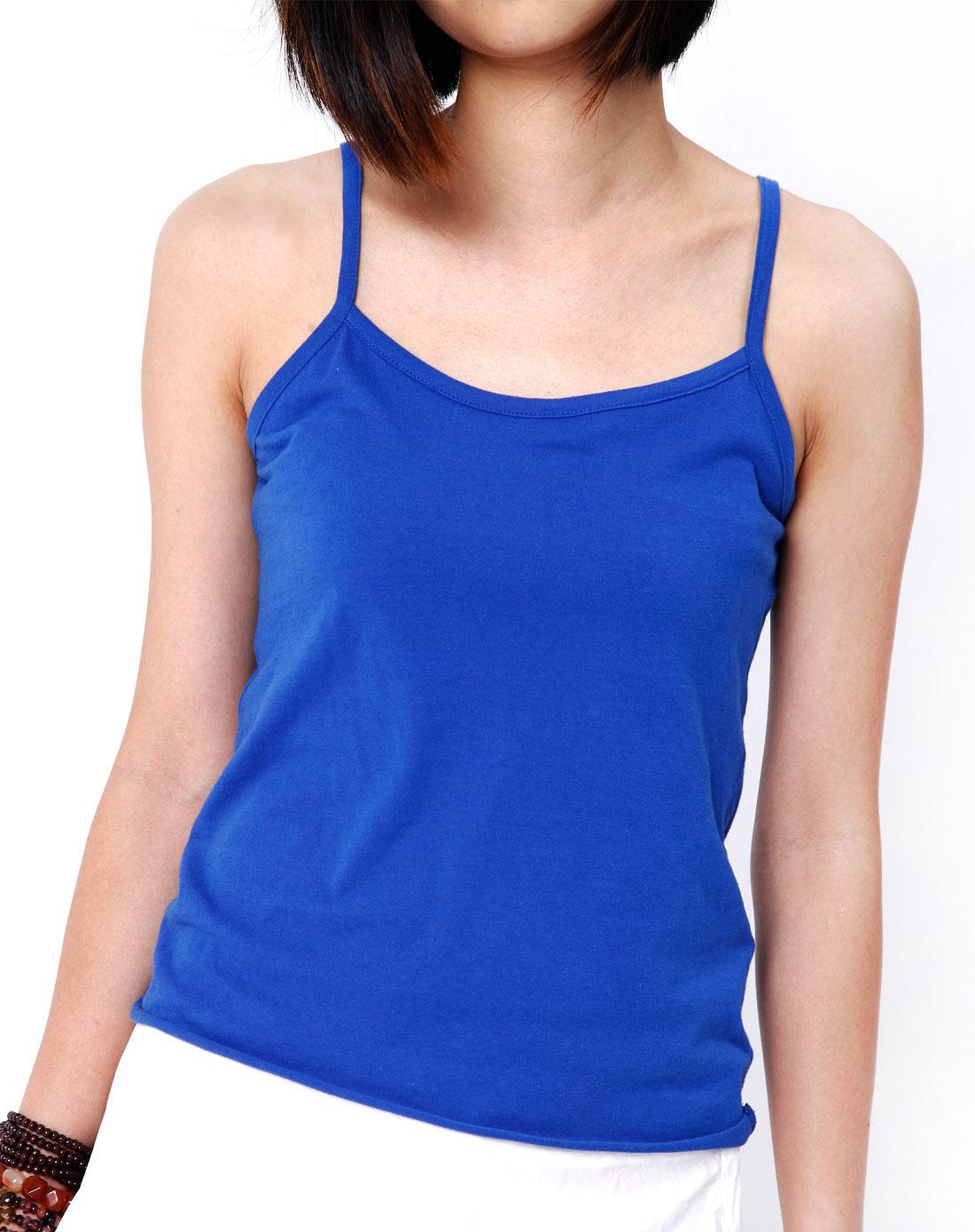 lala深蓝色时尚吊带背心