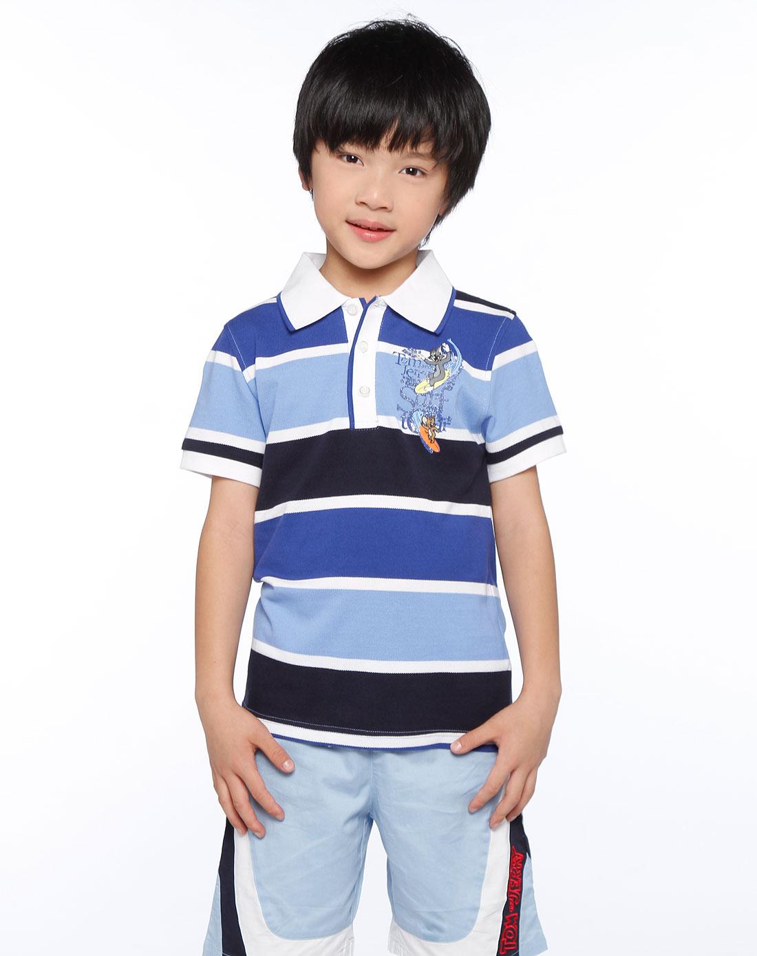男童蓝/深蓝色条纹短袖t恤