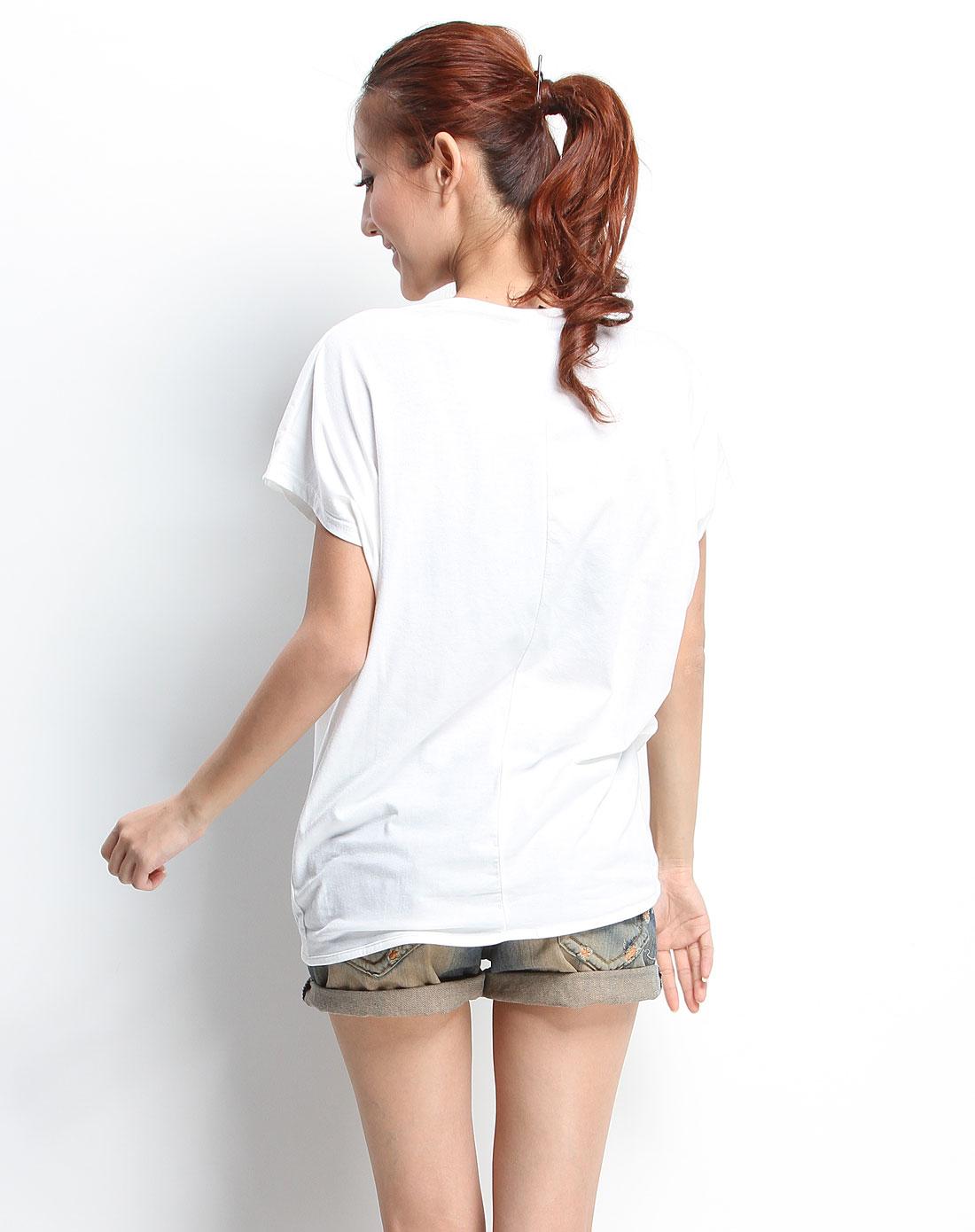 白色手绘风格俏皮女孩宽松休闲短袖t恤